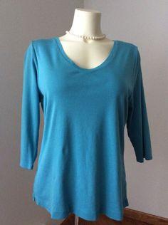 J Jill Pima V Neck Ballet Sleeve Tee Blue Petite Large 100% Pima Cotton GUC  | eBay