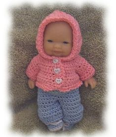 Ravelry: Hoodie & Jeans for 5 inch Berenguer Doll Clothes pattern by Amy Carrico