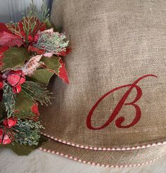 Natural burlap Christmas tree skirt with red and white french ticking piping, upholstery grade burlap, optional custom Initial or Name. Like the ticking piping Farmhouse Christmas Tree Skirts, Burlap Christmas Tree, Large Christmas Tree, All Things Christmas, Christmas Stockings, Christmas Holidays, Christmas Decorations, Xmas, Christmas Ideas