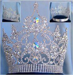Continental Adjustable Aurora Borealis Rhinestone Crown Tiara - CrownDesigners