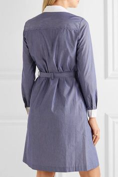 Vanessa Seward - Daisy Belted Pinstriped Cotton-poplin Dress - Navy - FR