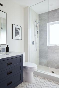 Fearsome Shower remodel beige tricks,Bathroom shower remodel before and after tricks and Tile shower remodeling diy tricks. Blue Bathroom Vanity, Navy Blue Bathrooms, Blue Vanity, Master Bathroom, Bathroom Vanities, Small Bathrooms, Bathroom Wall, Costal Bathroom, Navy Blue Bathroom Decor