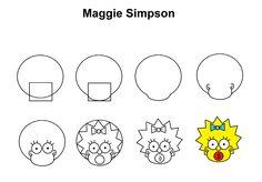 Maggie Simpson step-by-step tutorial. Cute Easy Drawings, Art Drawings For Kids, Amazing Drawings, Doodle Drawings, Art Drawings Sketches, Drawing For Kids, Doodle Art, Simpsons Drawings, Cartoon Drawings
