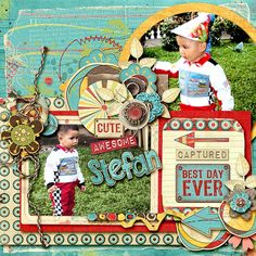 Layout using one of Angelclaud Artroom's Good TImes Template Pack.  Kit is A Touch of Whimsy by Blagovesta Gosheva. Both available at Scrapbookgraphics