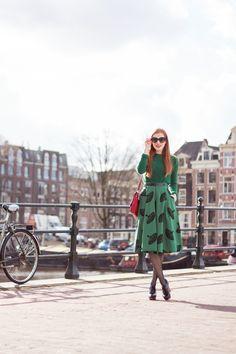 Green Midi Skirt Outfit Amsterdam Fashion Blogger