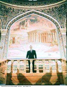 Mohammad Reza Shah Pahlavi posing for a photograph at the Marble Palace