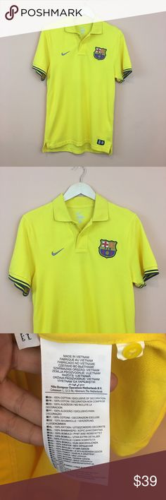 "Men's Nike FCB Yellow Polo Shirt Men's Nike FCB - Barcelona  Yellow Polo Shirt. Size small. Measures pit to pit 18""/ length approx 27"" Nike Shirts Polos"