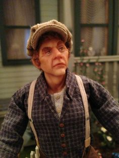 Dollhouse miniature 1:12 scale male doll could be gardener, handyman, or turn of the century worker/tradesman. 1:12 scale artisan doll by Sharon Cariola of Doll Mine Miniatures