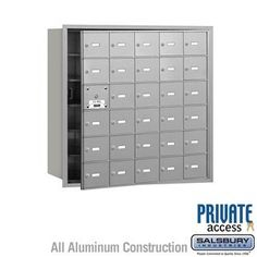 4B+ Horizontal Mailbox (Includes Master Commercial Lock) - 30 A Doors (29 usable) - Aluminum - Front Loading - Private Access by Salsbury Industries. $967.50. 4B+ Horizontal Mailbox (Includes Master Commercial Lock) - 30 A Doors (29 usable) - Aluminum - Front Loading - Private Access - Salsbury Industries - 820996417152