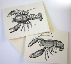 Lobster Note Cards Set of 10 with Matching by PetitePaperie, $10.00