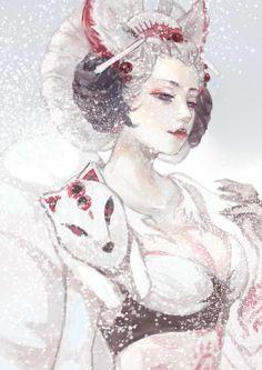 三尾狐姐姐觉醒美~ 效果参考《雪国》封面上雪中的永吉小百合