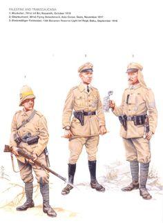 DEUTSCHES HEER - Moschettiere, 701° Battaglione Fanteria, Nazareth ottobre 1918 - 2 Oberleutnant, 301° Distaccamento Volante, Asia Corps, Gaza 1917 - Etatmaessiger Feldwebel, 15° Reggimento Bavarese Riserve Fanteria Leggera, Baku, 1918
