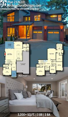 Architectural Designs Modern House Plan 23763JD has 3 beds | 3 baths | 3,200+ square feet of heated living space. Ready when you are. Where do YOU want to build? #23763JD #adhouseplans #architecturaldesigns #houseplan #architecture #newhome #newconstruction #newhouse #homedesign #dreamhouse #homeplan #architecture #architect #houses  #homedecor #kitchen #moderndesign #modern