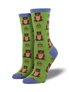 6c3e9b2b58d SockSmith Crew Time For A Pic-A-Nic Grass. Food SocksFunny OutfitsSock  AnimalsCute ...