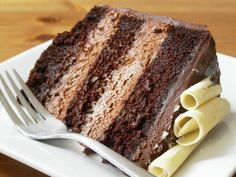 Slice of Vegan Double Chocolate Mousse Layer Cake need to make for Chris sometime, just let me know when @ksfergurson