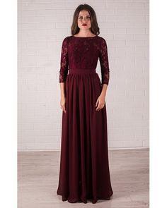 Bridesmaid Marsala Maxi Dress Wedding Lace Burgundy von Dioriss