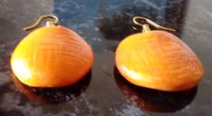"Ohrringe ""Piel Naranja"" – Unikate Schmuck Orange Leather, Gemstone Earrings"