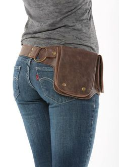 Hip Pack Leather Utility Belt Bomber Brown Largest by WCCouture