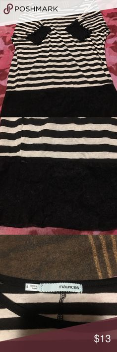 Maurice's size small stripped shirt with lace Maurice's size small shirt stripped black and white with a Lacey bottom and Lacey cuffs Maurices Tops