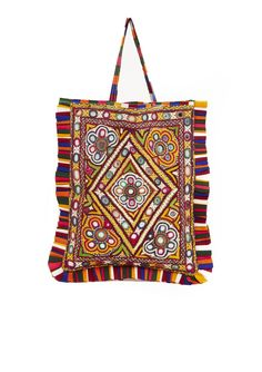 "One-of-a-kind hand-embroidered tote bag with mirrors.  The detailing on this bag is incredible! Size will vary slightly.   Width 10 3/4""Height 13 1/4""Handle Drop 5 3/4""Made in India"