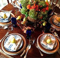 Pears as place settings