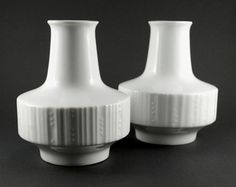 20% OFF Glossy White Vases Set of 2, Vintage Porcelain Vases White, Eschenbach Bavaria Porcelain Vases,  German Porcelain Vases, Mid Century