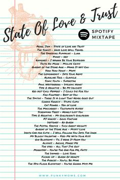 State Of Love And Trust ! A mixtape of alternative love songs for you and your love to enjoy. Stream for free on our Spotify Station, Punky Moms Mixtapes http://punkymoms.com/counter-culture/music/spotify-playlist/state-love-trust-alternative/