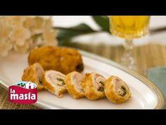 ▶ Rollitos de pollo rellenos de jamón, queso y pimientos - YouTube