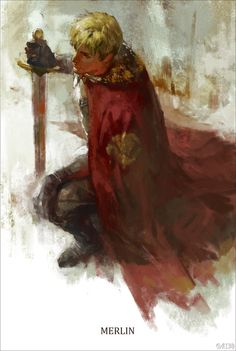Beautiful painting of Arthur from BBC Merlin.