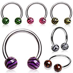 316L Surgical Steel Horse Shoe with UV Coated Zebra Balls