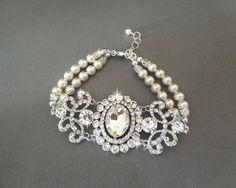 Pearl and crystal bracelet Brides bracelet by QueenMeJewelryLLC