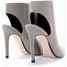 Zara High Heeled Slingback Bootie ($16) ❤ liked on Polyvore featuring shoes, boots, ankle booties, grey, slingback, zara, high heel bootie, gray booties, zara booties and short grey boots
