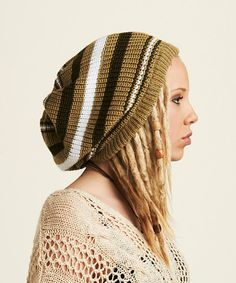 Beige brown and white striped rasta tam   by Dreadstuffs on Etsy 4acfa1769f4