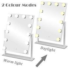 MRah Hollywood Makeup Vanity Mirror - White Lighted Makeup Mirror Tabletops Lighted Mirror, LED Illuminated Cosmetic Mirror with LED Dimmable Bulbs Hollywood Makeup Mirror, Makeup Vanity Mirror, Makeup Mirror With Lights, Led Mirror, Lighted Mirror, Bathroom Mirrors, Makeup Dresser, Magnifying Mirror, White Light