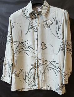 Gray Black Button Shirt Size1XL Bold Flowers Long Sleeve Office Beverly Rose #BeverlyRose #ButtonDownShirt #Career