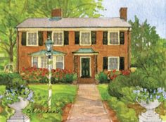 watercolor illustration of 5507 Matoaka Road by Beth Marchant on Westhampton Tour of Historic Garden Week on Friday, April 29, 2016 @historicgardenweek