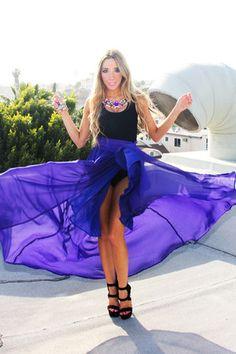 Flowy blue skirt with beaded jewellery