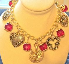 ROMANTIC HEARTS AND RED FACETED BEADS CHARM BRACELET GOLDTONE VALENTINE GIFT! #Handmade #Statement