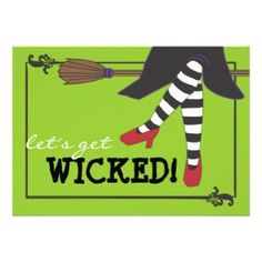 Fun Wicked Witch on Broom Halloween Party Card Halloween Birthday, Family Halloween, Halloween Gifts, Happy Halloween, 13th Birthday, Halloween Town, Halloween Cards, Birthday Ideas, Halloween Costume Party Invitations