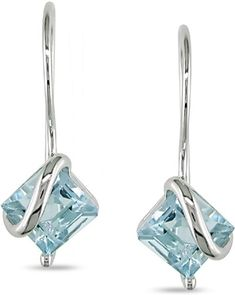 10k White Gold Blue Topaz Earrings -