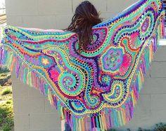 Encargo para usted Freeform Crochet chal / / Ooak usable fibra arte