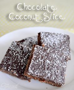 This is a childhood favourite of mine, Chocolate Coconut Slice. Easy to make, no need for an electric mixer and a nice occasional treat for the lunch boxes Chocolate Coconut Slice Print Pr...