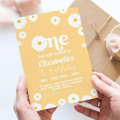 Daisy First Birthday Invitation Editable Template Yellow Daisy image 0 21st Birthday Invitations, Brunch Invitations, 18th Birthday Party, Invites, Christmas Card Template, Funny Christmas Cards, Pink Daisy, Invitation Card Design, Party Planning