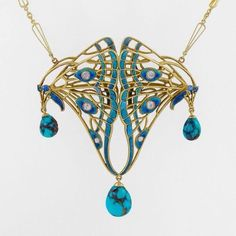 An Art Nouveau pendant necklace, circa Designed as double butterfly wings in a dimensional openwork motif, applied with enamel and set with six old European-cut diamonds, three articulated pear shaped veined turquoise drops, mounted in gold. Bijoux Art Nouveau, Art Nouveau Jewelry, Jewelry Art, Antique Jewelry, Vintage Jewelry, Jewelry Necklaces, Fine Jewelry, Jewelry Design, Gold Jewelry
