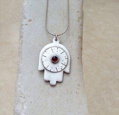 Silver Hamsa Pendant, Israeli art, Judaica, Silver  Hand of Fatima, handmade, jewel for protection, Garnet stone, sterling silver