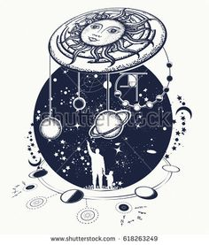 Human and Universe tattoo art. Symbol solar system, science, religion, astrology, astronomy. Boundless Universe, planets and stars t-shirt design