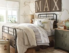 Discover boys room ideas and inspiration at Pottery Barn Kids. Shop our favorite boys bedrooms for furniture, bedding, and more. Home Bedroom, Kids Bedroom, Boys Dinosaur Bedroom, Bedroom Ideas, Big Boy Bedrooms, Boy Rooms, Pottery Barn Kids, Pottery Barn Duvet, New Room