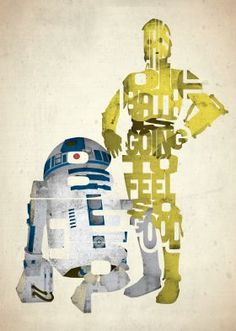 prints on metal Movies & TV star wars c3po r2d2 movies films design typography