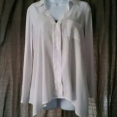 New Assymetrical Button-down White Shirt 100%Rayom White. Super cute top can be dressed up or worn casually. It still has tags so I dont want to put in washer. From Nordstrom Pleione Tops Button Down Shirts