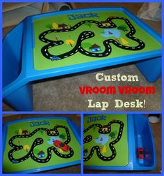 "Personalized Travel Lap Desk: ""Vroom Vroom"" car play surface, by StickyChicBoutique"